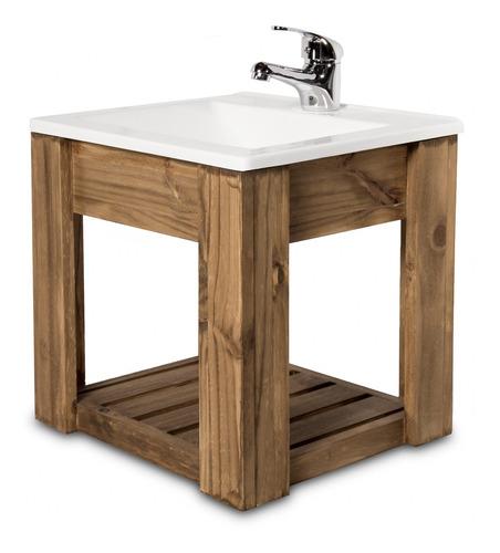vanitory colgante 40cm madera maciza y bacha maral  cuotas