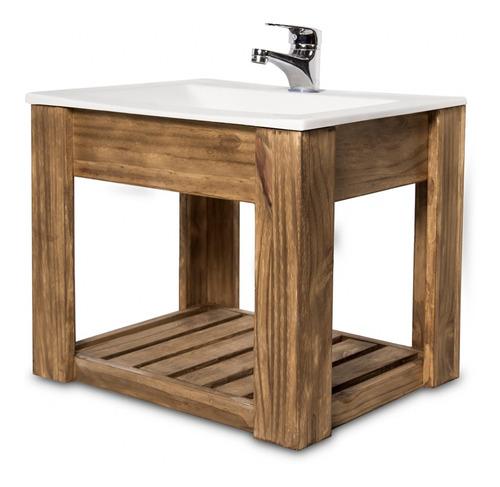 vanitory colgante 50cm madera maciza y bacha maral  blanca