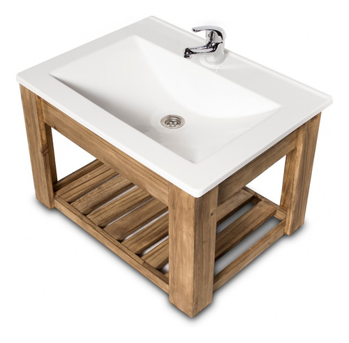 vanitory colgante 60cm madera maciza y bacha maral  blanca