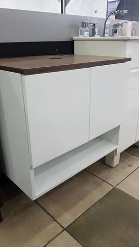 vanitory colgante laqueado blanco 50x40 tapa color cuero