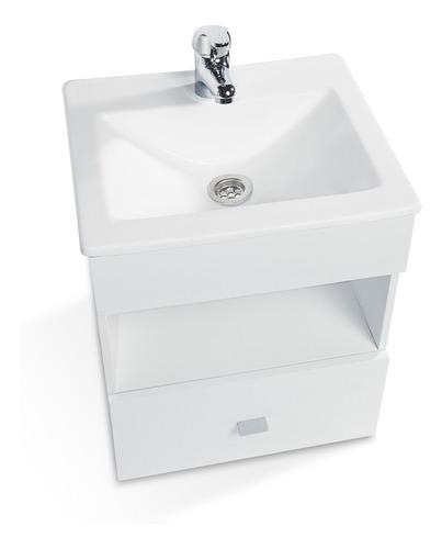 vanitory colgante laqueado cajon blanco bacha baño 40cm !!!