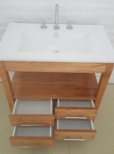 vanitory color miel 75x47 con 4 cajones y bacha de loza