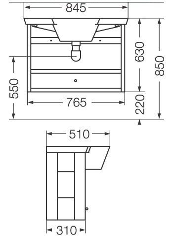vanitory con mueble bacha ferrum marina colgar blanco 85 cm