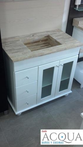 vanitory de 80 cm con mesada tocetos marmol travertino