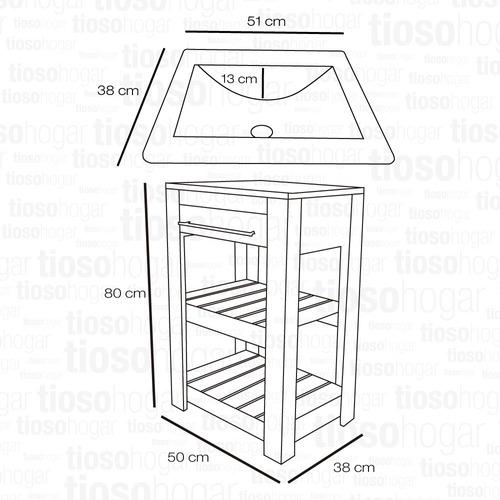 vanitory deck barral bacha estilo campo 50 40 cm mueble baño