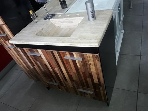 vanitory diseño exclusivo 80 madera rustico macizo c/cajones