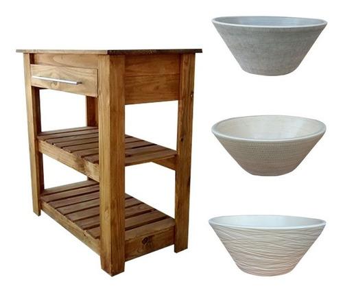 vanitory estilo campo madera 80cm + bacha apoyo artesanal