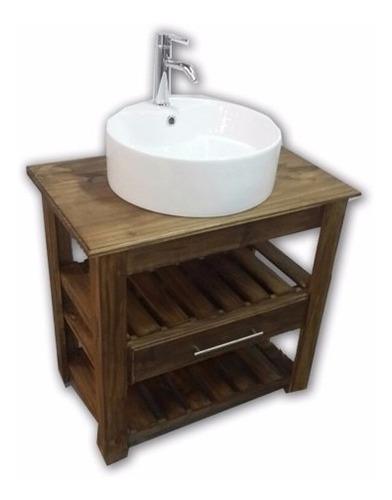 vanitory estilo campo madera mesa baño diseño cajon 80cm