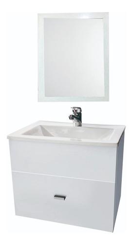 vanitory laqueado melamina colgante 50cm con espejo 60x50cm