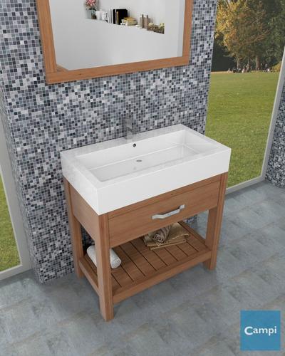 vanitory mueble baño campi antique 80 con mesada de loza 3 o