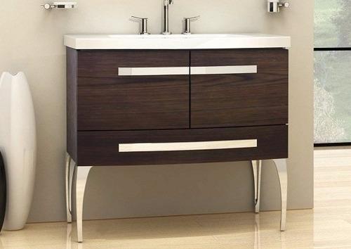 vanitory mueble baño campi rondo 90 con mesada y espejo