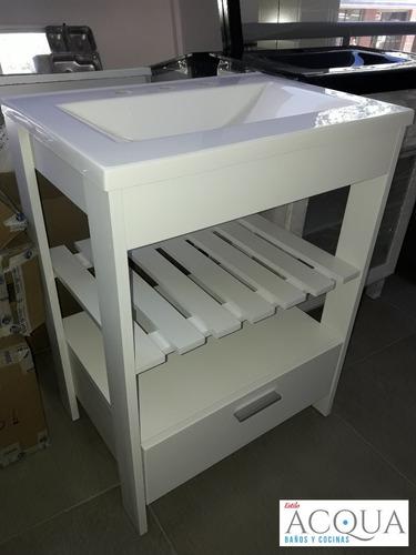 vanitory oferta 50 cm - mesada marmolina bco. estilo acqua