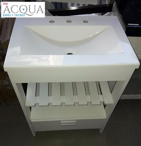 vanitory oportuni 60 cm - mesada marmolina bco. estilo acqua