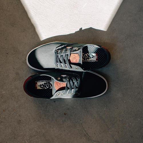 vans chima ferguson pro tooled leather black tenis shoes