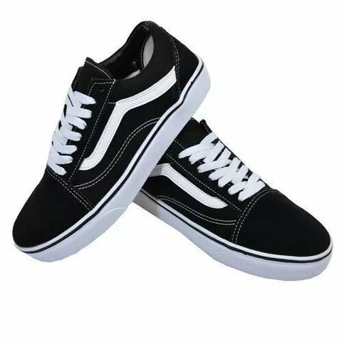 b8fe371b0b Tênis Vans Old Skool Skate Preto Branco Feminino Masculino - R  119 ...