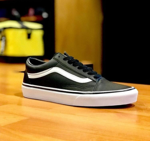 vans old skool leather color negro seminuevos 9.5/10