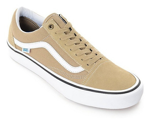 vans old skool pro beige/khaki 100% originales zapatillas
