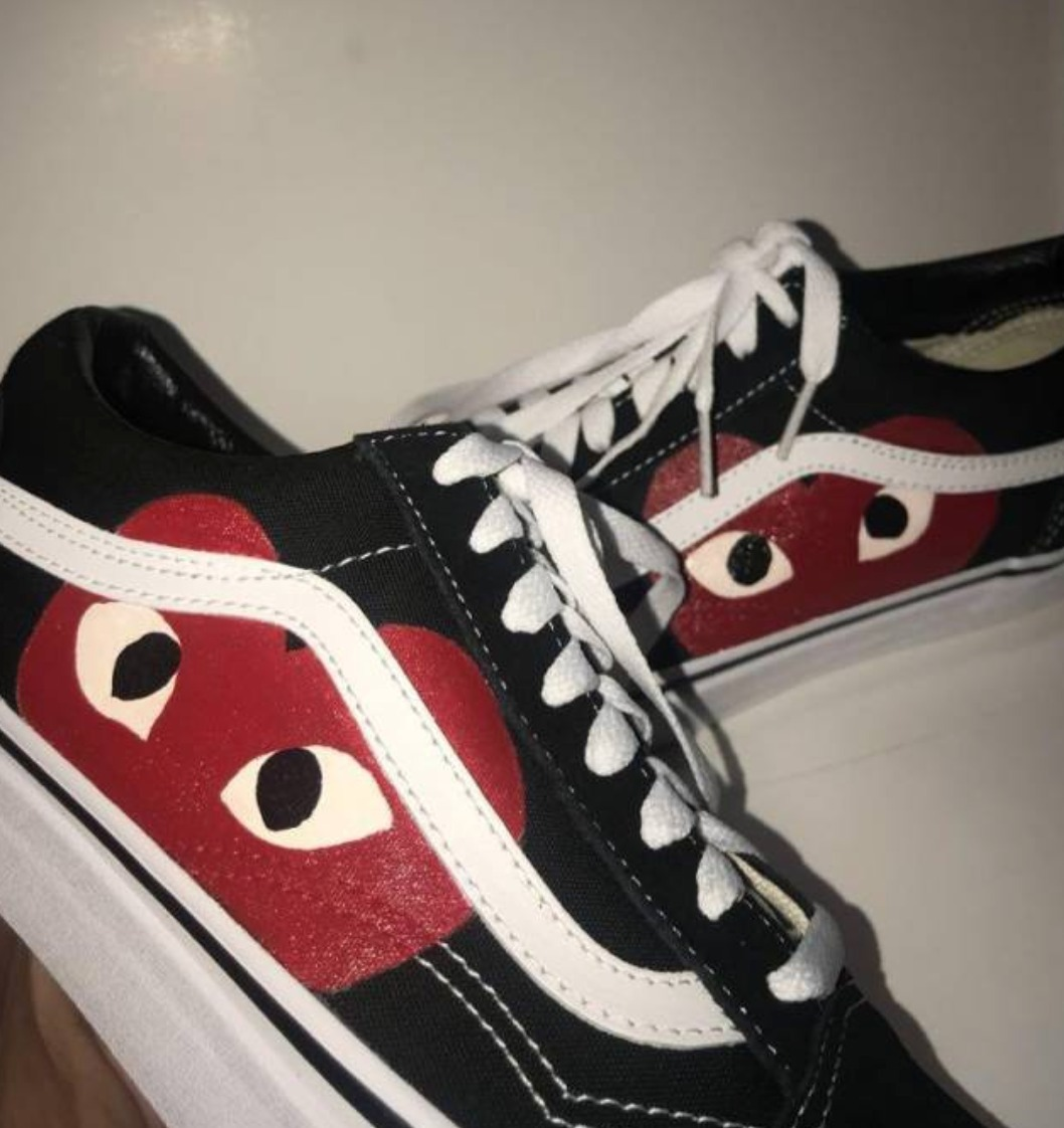 quality products exquisite design shop best sellers Vans Old Skool X Comme Des Garcons (cdg Play) Custom Made