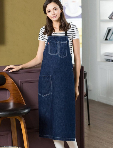 vantoo moda ajustable cocina denim jean delan + envio gratis