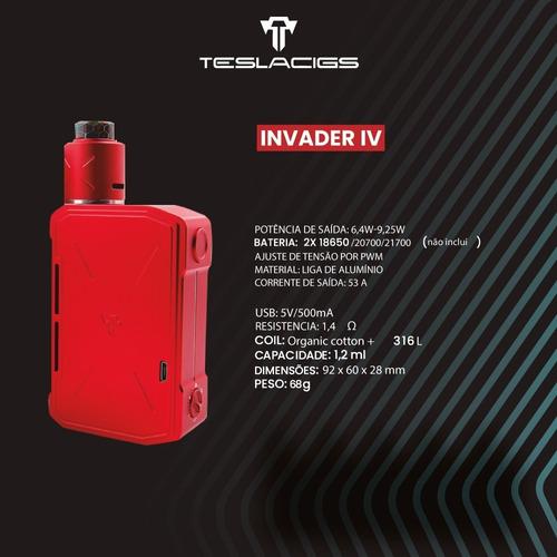 vapeador vaper teslacigs invader 4 kit semi - mecanico 280 w
