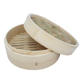 Vaporera De Bambú 19cm Diam Navidad Regalo Tapa Hogar Cocina