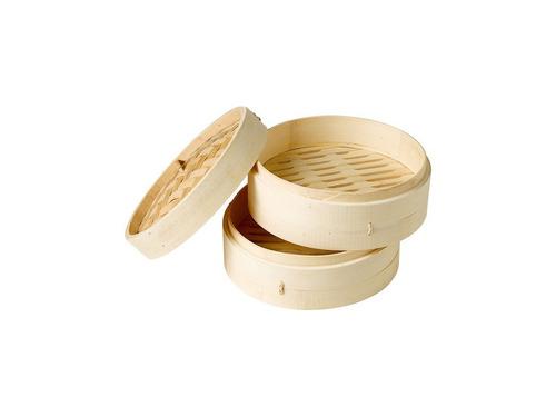 vaporera de bambu 2 niveles con tapa  20 cm