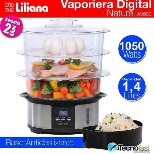vaporera electrica liliana av930 display digital de 12 lts.