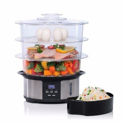 vaporiera digital 3 bandejas liliana apto huevos arroz full!
