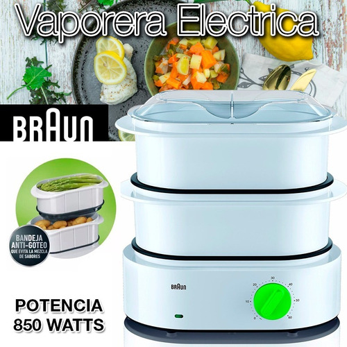 vaporiera electrica de alimentos braun timer 850w arrocera