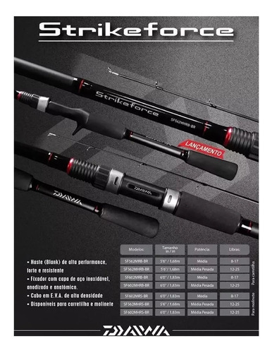 vara daiwa para molinete strikeforce 1,83m 1,68m 8-17 12-25