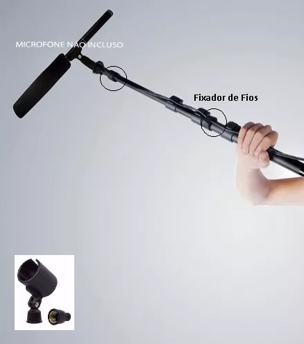 vara de boom-pole para microfone shotgun filmadora coral bag
