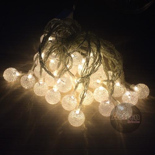 varal 30 leds cordão bolinha cristal 6m luz amarela bivolt