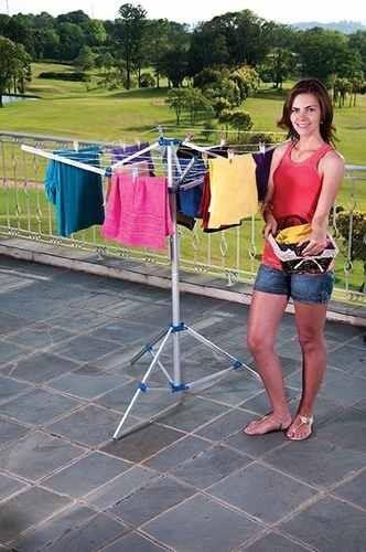 varal médio giratório de roupas com base móvel