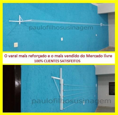 varal muro  mão francesa  cor branco retrátil 5 cordas