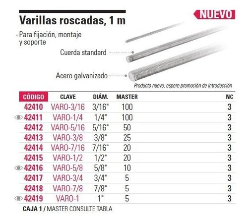 varilla roscada 1/2', 1 mt  fiero 42415