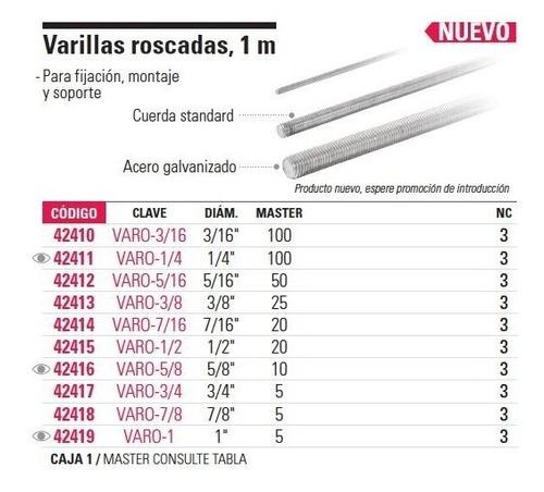 varilla roscada 3/8', 1 mt  fiero 42413