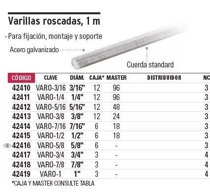 varilla roscada 5/16', 1 mt fiero 42412