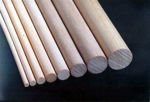 varillas de madera redondas diametro 8 mm. x 10 unidades