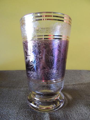 vaso antigo de vidro motivo folhagens lilás frisos dourados