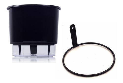 vaso auto irrigável 16x14 autoirrigável preto+suporte parede
