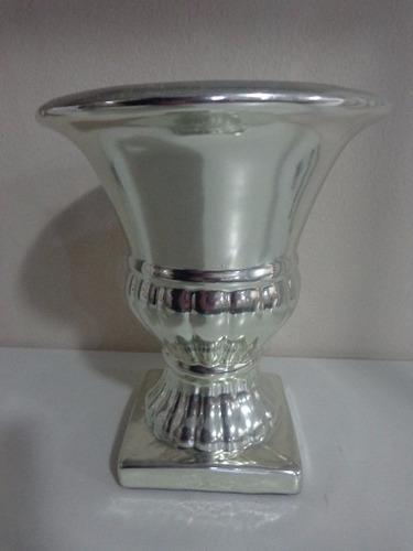 vaso cachepot cerâmica cromo 19 cm  verdinho nicho
