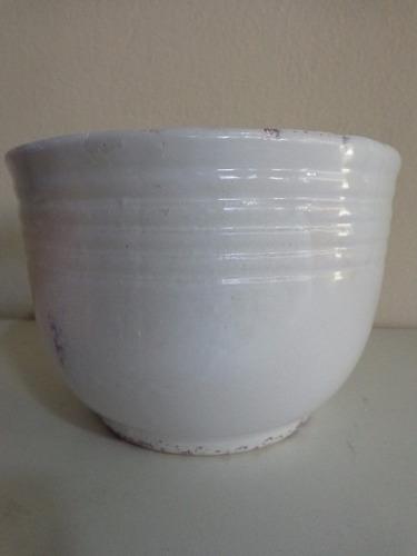 vaso cachepot cerâmica esmaltada vintage 10 cm branco