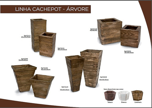 vaso cachepot madeira pinus arranjo flores 65x25x25cm 5112