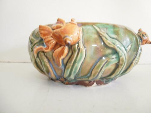 vaso chino-japonese ceramica vidriada con pescado - vintage
