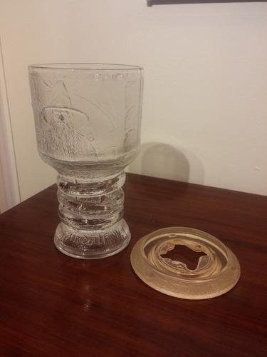 vaso coleccionable vidrio tallado  lord of the rings u.s.a