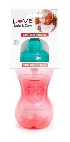 vaso con sorbete bebe con asas y tapa 300ml love 9148