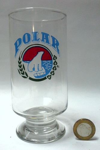 vaso copa pie bajo vidrio logo polar azul rojo y verde