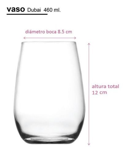 vaso copon vidrio coctail dubai nadir 460 ml x6 unid oferta!