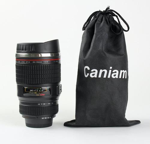 vaso creativo forma lente camara canon