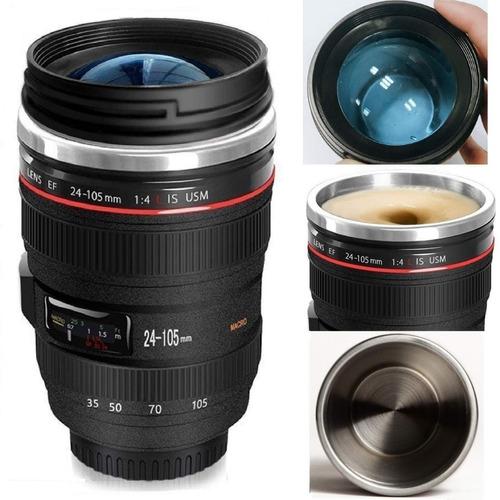 vaso creativo forma lente camara canon termico taza contigo